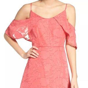 CECE NEWPink Womens Liv Floral Cold Shoulder Dress